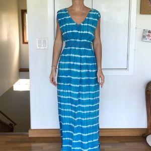 Monrow tie dye stripe maxi silk dress blue small